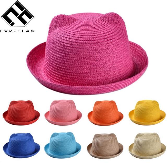 Los niños de moda sombreros de paja para las niñas de verano de los niños  bebé 2470d30865e