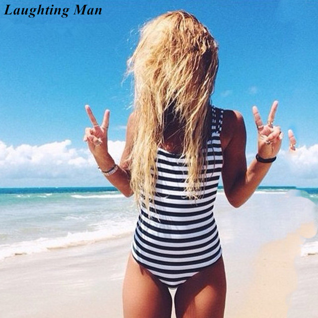 908b21e758 Laughting Man Brand One Piece 2019 Sexy Swimsuit Striped Bathing Suits Beach  Wear Maillot Women Swimwear Bodysuit Biquinis YJ222-in Body Suits from  Sports ...