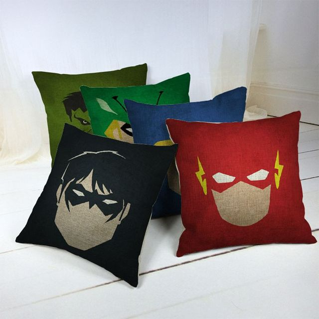 Superhero Cotton Linen Cushion Cover Cushions For Sofas Coffee Shop Office  Car Home Decor Throw Pillow
