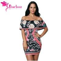Dear Lover Christmas Print Dresses Bodycon Night Club Dark Floral Ruffle Off Shoulder Short Sleeve Dress
