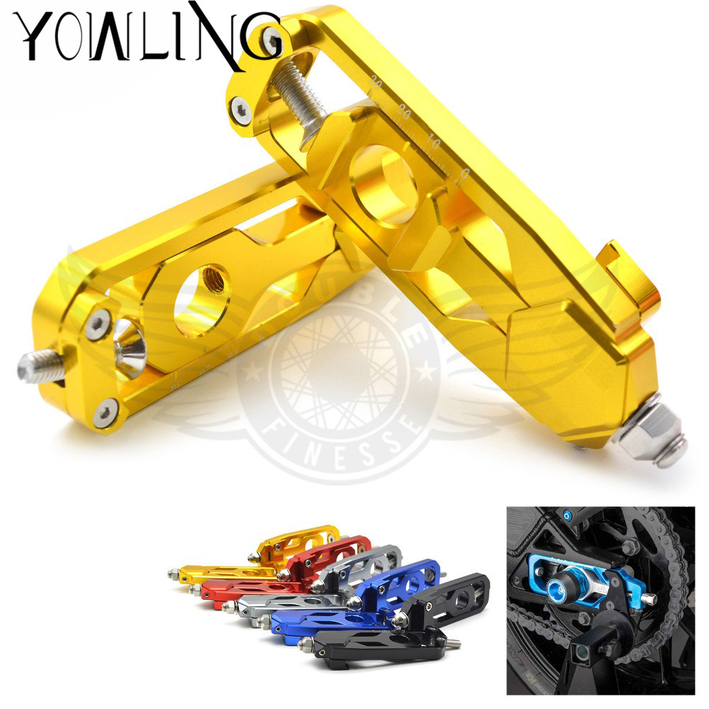 CNC Motorcycle Accessories Rear Axle Spindle Chain Adjuster Blocks chain adjuster tensioners For Yamaha MT-09 FZ-09 MT 09 FZ 09 cnc motorcycle accessories rear axle spindle chain adjuster blocks chain adjuster tensioners for yamaha mt 09 fz 09 mt 09 fz 09