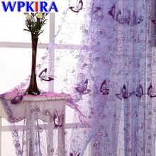 Modern Purple Curtains Fabric Rustic Butterfly Embroidered Window Curtain Tulle Living Room Window Drapes Red Curtain WP344-30