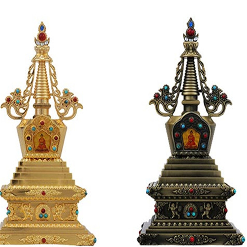 Exquisitely Carved Tibetan Buddhism Stupa Instrument Decoration 7-inch