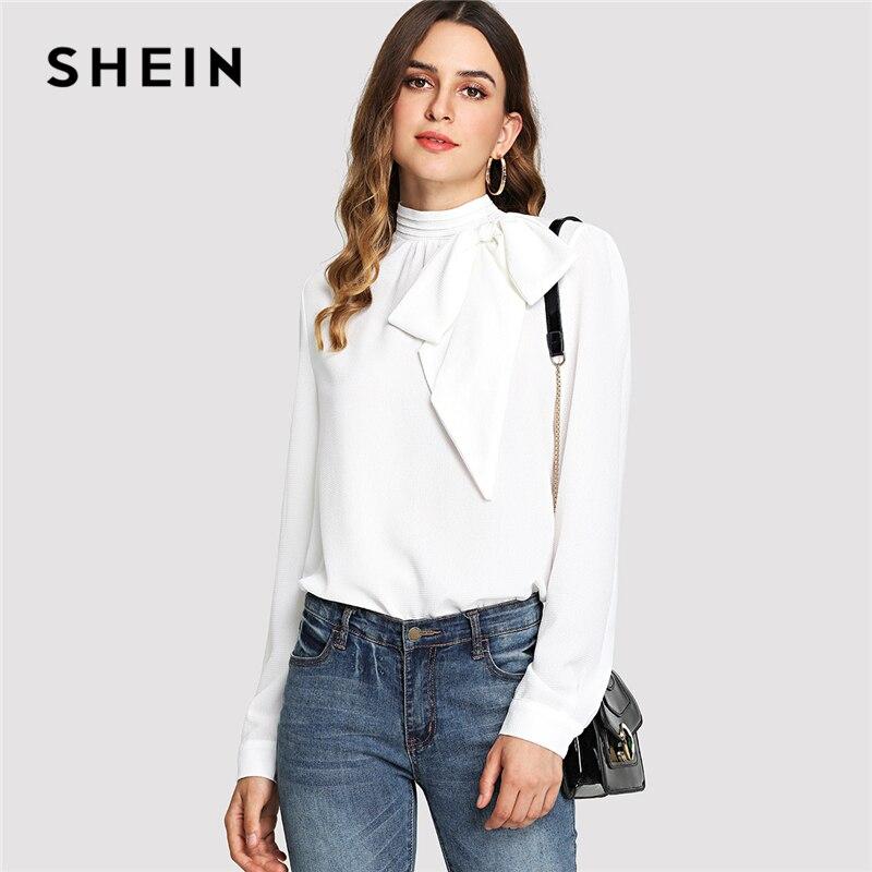 SHEIN Weiß Elegante Arbeitskleidung Mock Neck Bogen Verziert Stehkragen Langarm Solide Bluse Sommer Frauen Casual Shirt Top