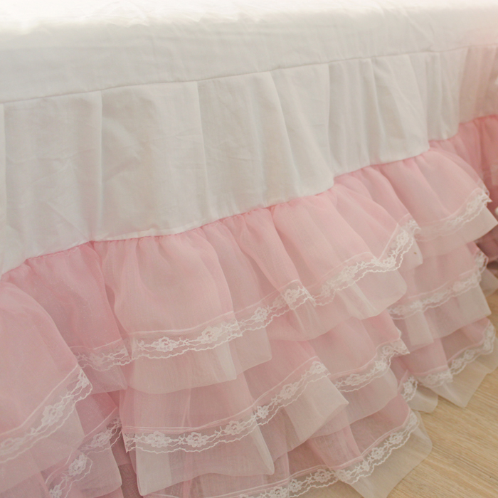 Free shipping cotton white&pink cake layers style lace yarn princess bed skirt bed apron twin full queen king size bed cover