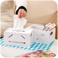 Korean simple creative tissue boxes, hollow carved pumping tray, table storage box finishing K4470