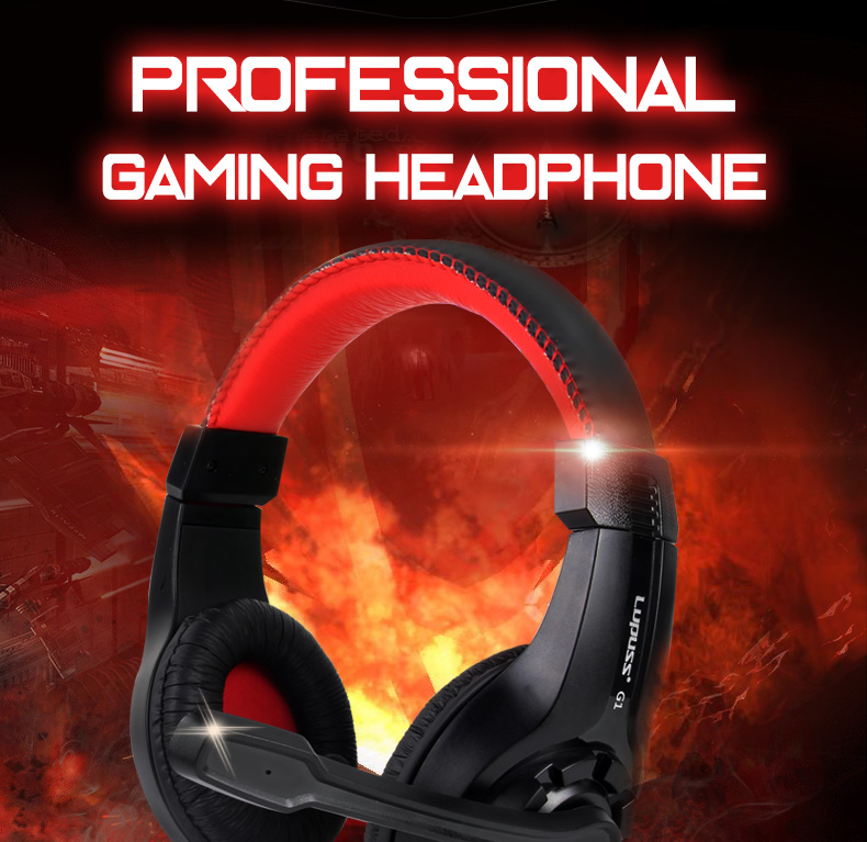LUPUSS Wired Headphone Stereo Sound Earphone Adjustable Pro Gaming Headset With Mic 3.5mm Audio Cable For Desktop PC Gamer LOL 11