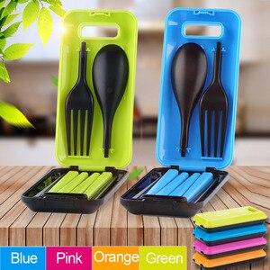 Portable Folding Outdoor Camping Hiking Tableware Dinnerware Set Cutlery Fork Chopsticks Set Bento Lunch Box Accessories MJ
