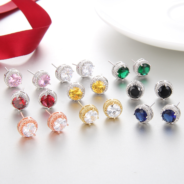 Classic Green Zirconia Stud Earrings Round Crystal Women Multicolor Fashion Jewelry 5