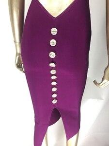 Image 5 - משלוח חינם למעלה איכות סקסית V צוואר כפתור פיצול שחור סגול תחבושת שמלת 2020 סרוג אלסטי אלגנטי ערב מסיבת שמלה