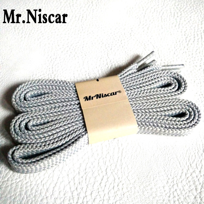 Mr.Niscar 1 Pair Bright Gray Classic Flat Polyester Shoe Laces Double Layers Rope Laces Casual Sport Shoelaces Long 100-180cm