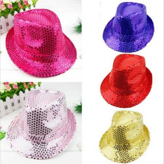 Fashion Adult Child Unisex Brilliant Glitter Sequins Hat Dance Show Party  Jazz Hat Cap Show 8148ac59bd87
