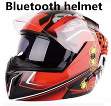 Full Face Helmet with Flag Graphic  Bluetooth Modular Motorcycle (Matte Black, X-Large)