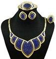Novos conjuntos de design de jóias para as mulheres africanas conjuntos de jóias de ouro da moda conjuntos de colar vermelho e azul