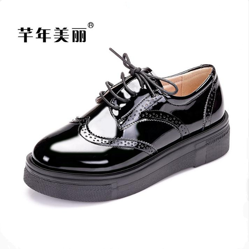 Fashion casual patent leather Oxford shoes Flat with Plus size Women Shoes Red,black thick bottom Platform shoes Loafers huarche beffery women s shoes british style patent leather flat shoes fashion thick bottom platform shoes for women lace up casual shoes