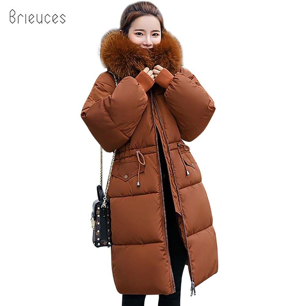 Brieuces Adjustable Waist 2018 New Fashion Long   Parkas   Winter Jacket Women Coat Slim Female Thicken Down Cotton Hooded Fur