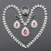 Rose Red Stone Silver Color Jewelry Sets For Women High Quality Cubic Zirconia Necklace Earrings Rings