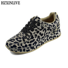 HZXINLIVE 2019 New Spring Women Casual Shoes Sneakers Lace-Up Leopard Print Sewing Gold Woman Sexy Flats Sneakers Zapatos Mujer(China)