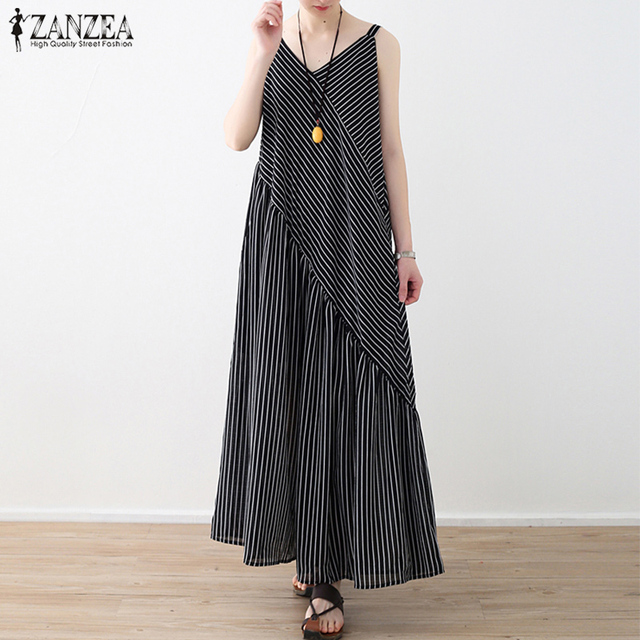 fe49387f33d7 2018 ZANZEA Summer Women Sleeveless Loose Chiffon Striped Jumpsuits Casual  Patchwork Flare Rompers Long Wide Leg Pants Overalls