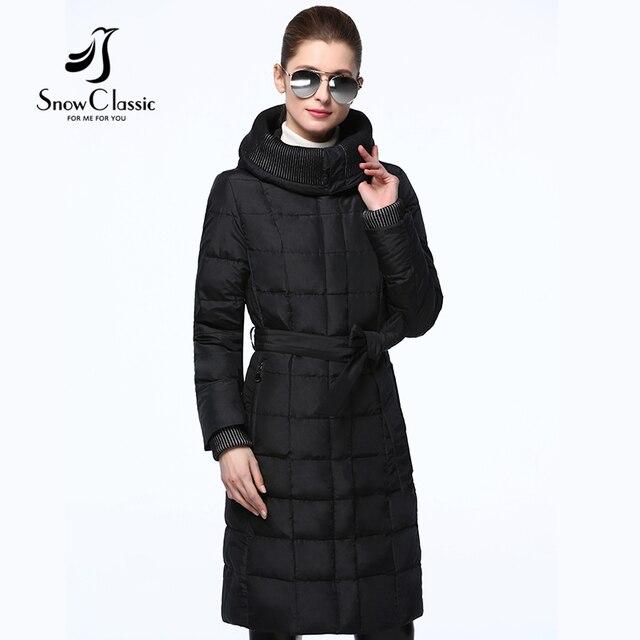 Snowclassic chaqueta de invierno 2016 mujeres Fajas Largas Mujeres Capucha Parkas Moda chaqueta de Invierno femenina 16274