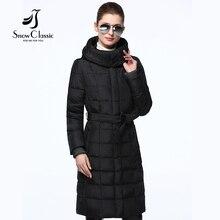 Snowclassic Женщина Зимняя Куртка 2016 Пояса Длинные Женщины Пальто Капот Мода Парки Зимнее Пальто Женщин 16274