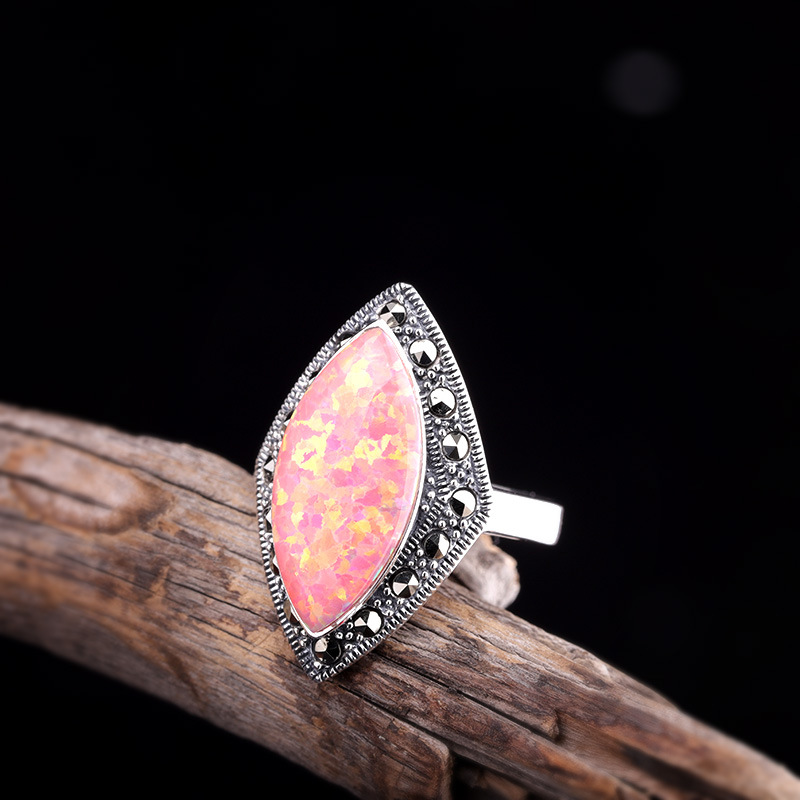2019 New Luxury Opal Ring For Lady Elegant Natural Opal Gemstone Real 925 Sterling Silver Ring For Wedding Engagement Gift2019 New Luxury Opal Ring For Lady Elegant Natural Opal Gemstone Real 925 Sterling Silver Ring For Wedding Engagement Gift