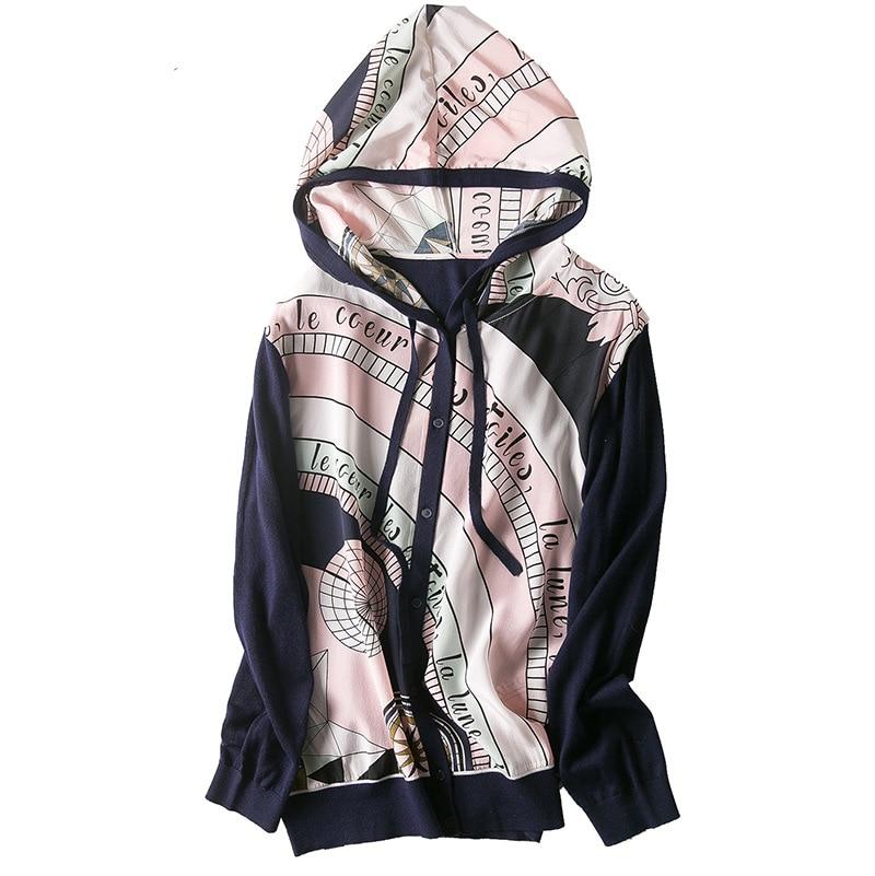 في ربيع عام 2019 الملابس النسائية الجديدة الجملة مقنعين رسم سلسلة إلى القوس المطبوعة الحرير سترة مشغولة من الصوف-في بلوزات وقمصان من ملابس نسائية على  مجموعة 3