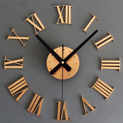 New Unique Design DIY 3D Wall Stickers Wall Clocks Modern Home Decoration  Roman Number Art Wall