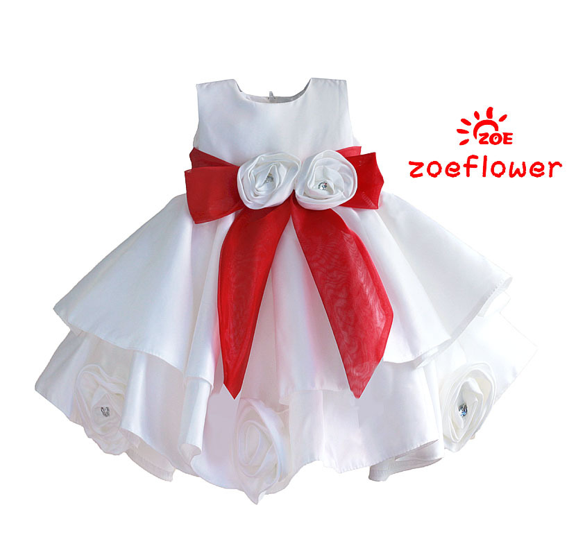 2016 Fluffy 2 Layer Flower Girl font b Dress b font Baby Girls Princess Beading Party