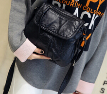 Mujeres de la manera pequeño bolso suave waterwashed T-59 bolso de cuero pequeña bolsa de mensajero ocasional hombro femenino negro * 966