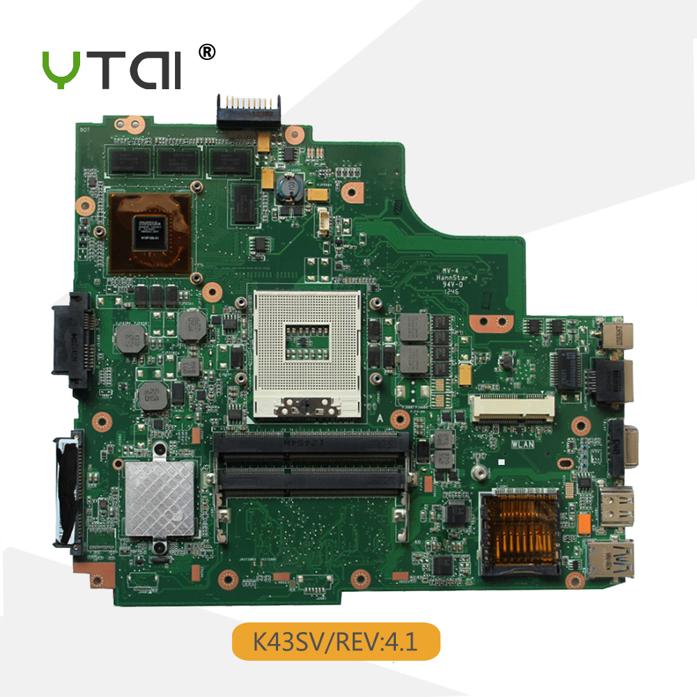 YTAI K43SV motherboard for ASUS A43S X43S K43SJ K43SV laptop motherboard GT540M REV:4.1 USB3.0 HM65 mainboard 100% tested