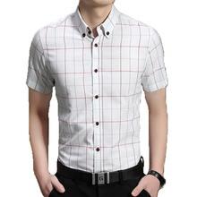 Homens de Manga Curta Camisa Xadrez Camisa Masculina Camisas de Vestido Dos Homens Camisas de Vestido Havaiano Camisa Social Masculina 5XL(China (Mainland))