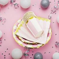 Verjaardag Bruiloft Decoraties Hot stamping Goud Roze Papier Streep Papier Cup Plaat Vlag Voor kids Baby Shower Jongen Meisje gift 4