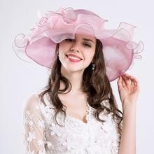 Elegante moda mujer sombreros de la iglesia para las mujeres flor sombrero  de verano Gorras Sun boda Kentucky Derby Wide Brim ma. c60efa1b4e8