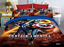 3PCS  Captain America Bedding Set Spiderman Iron Man Children bed sheet set bedding bag pillowcase gift