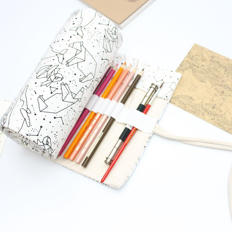 36/48/72 Holes Big Pencil Case School Canvas Roll Pouch pecncil box Constellation Pencilcase Sketch Brush pen Pencil Bag Tools Пенал