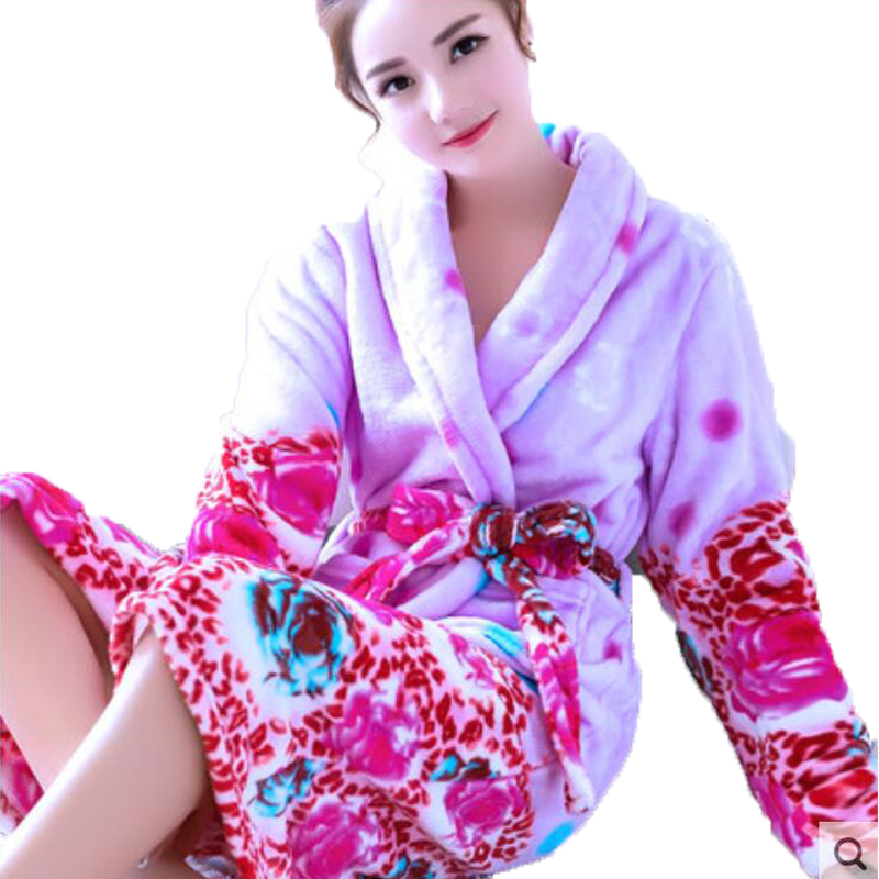 Bath Robe Women Winter Warm Coral Fleece Women's Bathrobe Nightgown Kimono Floral Dressing Gown Sleepwear Female Home Dress