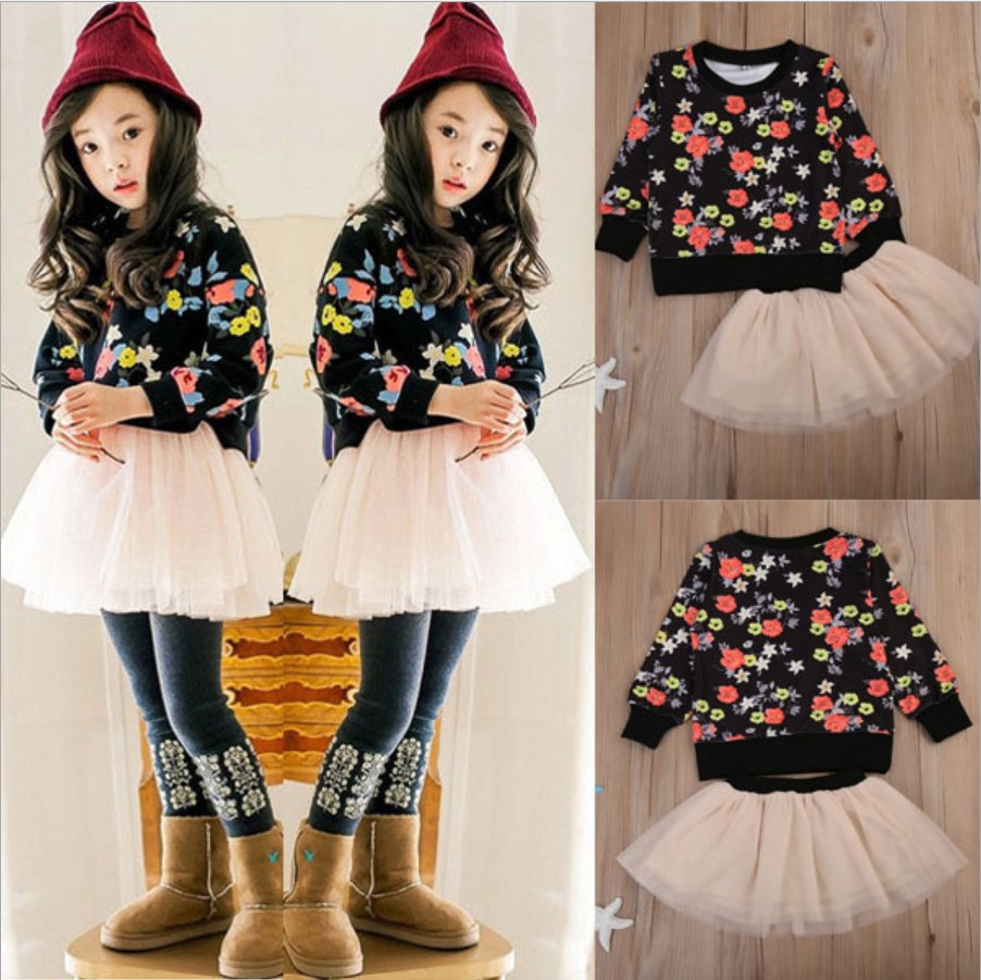 Toddler Clothes 2018 Spring Fashion Clothes Floral Baby Girls Clothing Sets Tulle Skirt Two Piece Outfits Tracksuit Kids 3 Years new fashion toddler kids baby girls clothes vest t shirts tulle tutu skirts princess 2pcs sets summer cute outfits