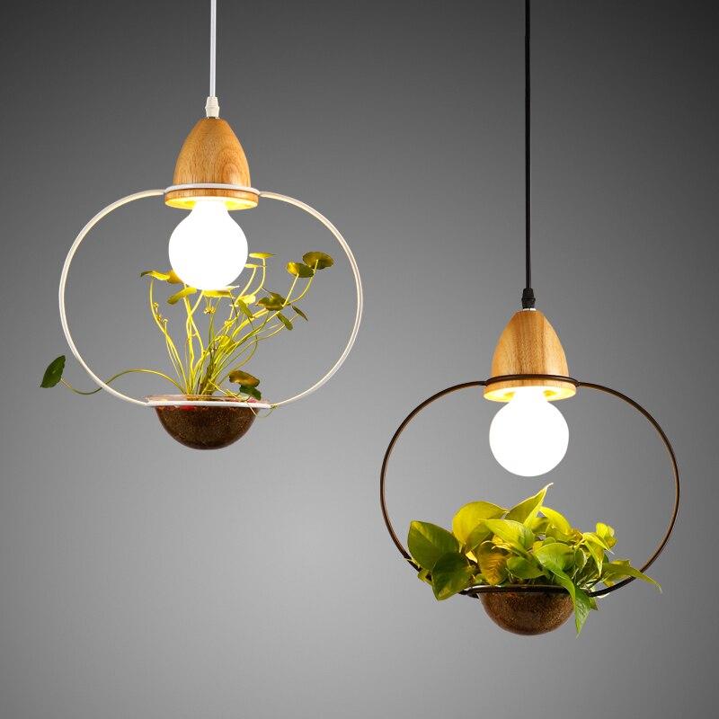 Modern Simple woodIron Pendant Lamp Lighting DIY Plant Pot Bar