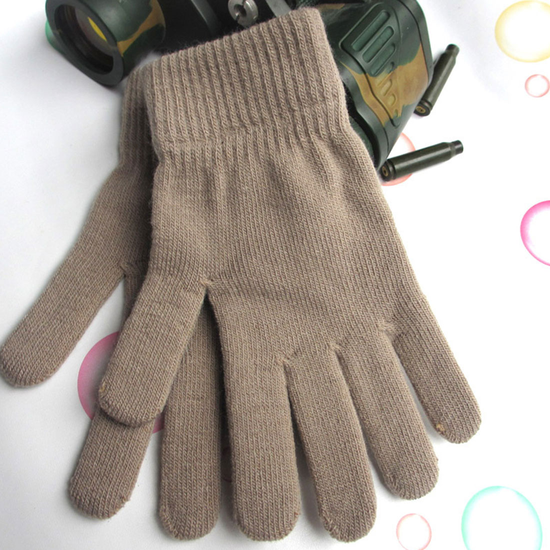 Trend Snow Thickening Plus Velvet High Stretch Casual Men's And Women's Warm Winter Fashion Gloves Knit Five Fingers Magic Glove