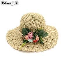 XdanqinX plegable tejido a mano sombrero de paja de las mujeres verano nuevo  estilo pequeño fresco sombreros de Sol para las muj. 966c15d6a03