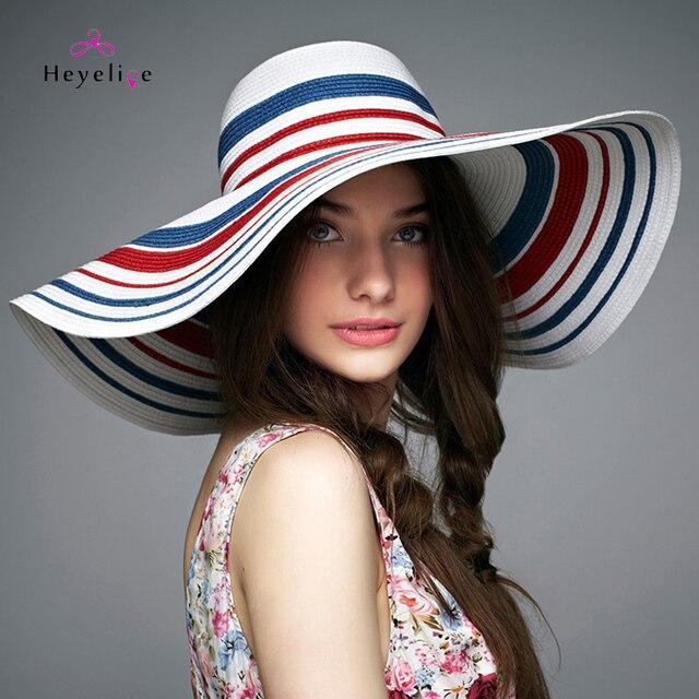 ad9b2d9bb34 Vintage Striped Summer Sun Hats Women Big Brim Fashion Beach Straw Hat  Romantic Lady Cap High Quality New Holiday Sun Hats