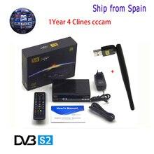 1 Jahr Europa Cccam Server Freesat V8 Super Satellitenempfänger DVB-S2 Hd 1080 P + 1 stück USB WIFI Unterstützung Cccam powervu biss schlüssel