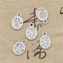Pingentes artesanais banhados à mão, 40 unidades, amuleto feito à mão do amor 15x10mm, cor prata antiga, tibetano joias da cor da prata