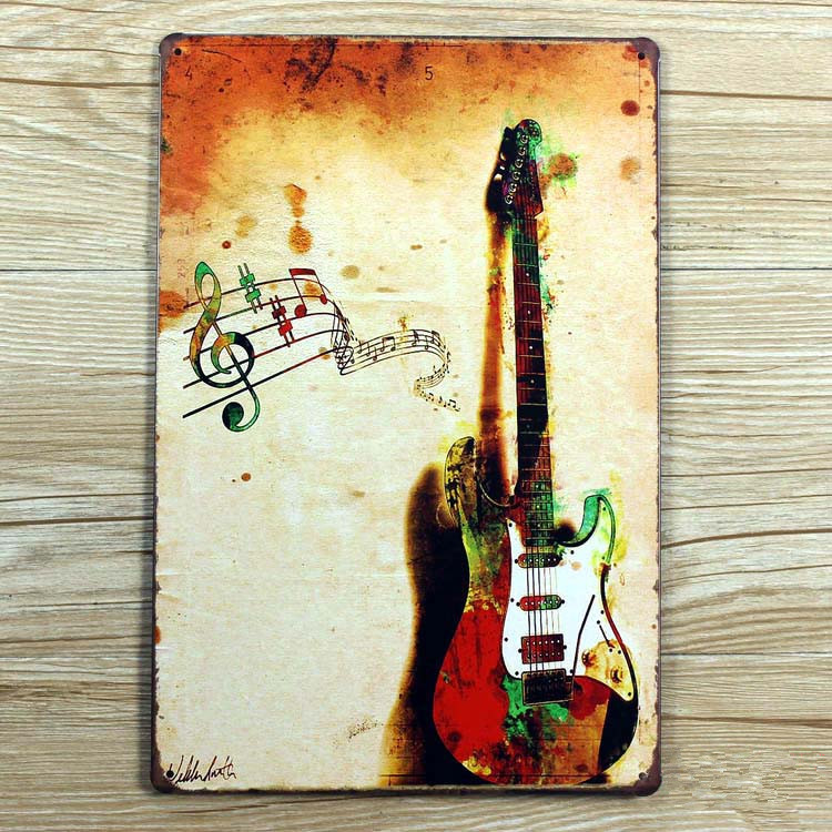 Music Metal Wall Art new 2015 metal tin signs guitar and music retro poster vintage