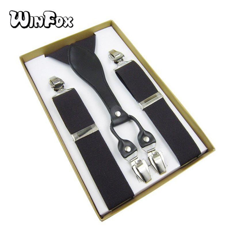 Winfox Male Suspenders Leather Men Black Red 3.5cm Wide Elastic Solid Pants Braces Adult Suspender