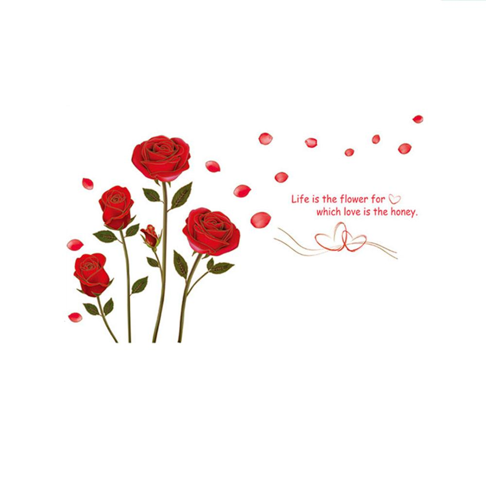 Red Rose Life Is The Flower Quote Wall Sticker Mural Car Home Decor Vinyl