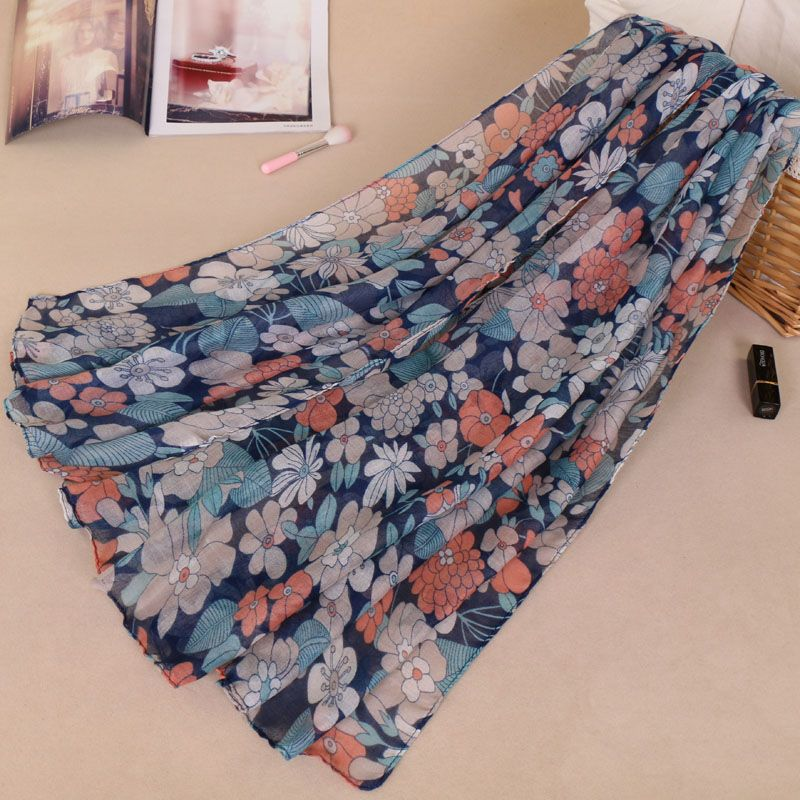 Bufanda Mujer 2019 Winter Flower Print Long   Scarf   Beach   Wrap   Women Shawl Foulard Femme Bandana Cape Muslim Hijab   Scarves