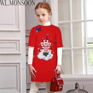 Image 4 - W.L.MONSOON Girls Dress Vestidos 2017 Brand Winter Children Chrismtams Dress Kids Clothes Princess Dresses for Girls Clothing