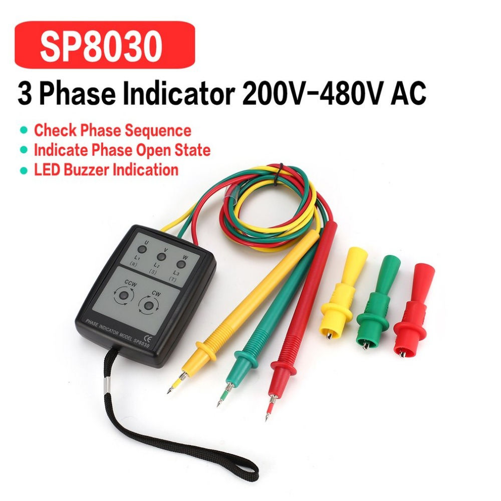 SP8030 3 Phase Rotation Tester Digital Phase Indicator Detector LED Buzzer Phase Sequence Meter Voltage Tester 200V-480V AC